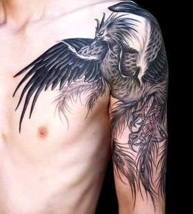 Simple shoulders tribal bird tattoo