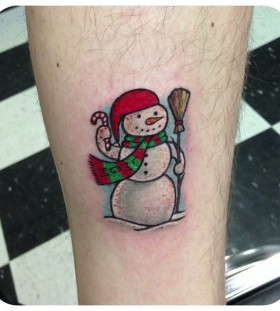 Simple snowman arm tattoo