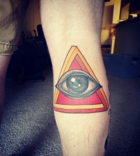 Simple triangle eye arm tattoo