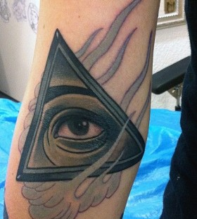 Simple triangle eye tattoo