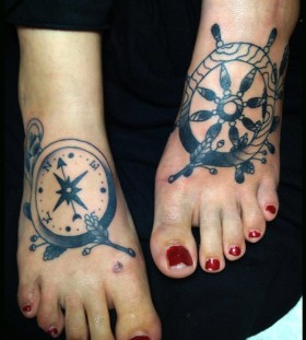 Simple wheel foot tattoo