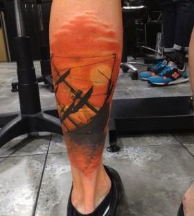 Sinking ship tattoo by Dan Molloy