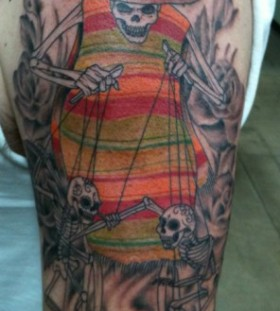Skeleton puppet master tattoo