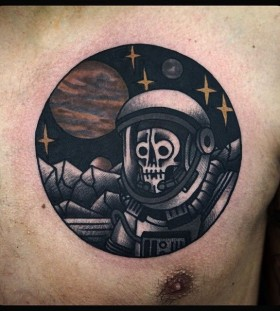 Skeleton spaceman chest tattoo by Philip Yarnell