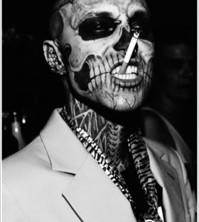 Skelleton face tattoo 1