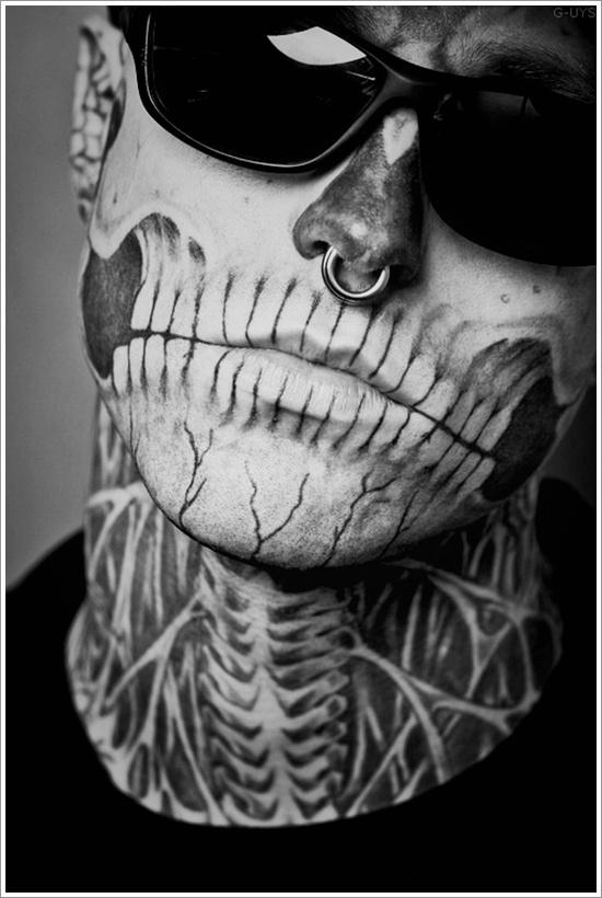 Skelleton face tattoo 2