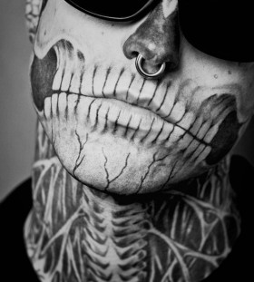 Skelleton face tattoo 2