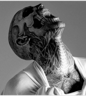 Skelleton face tattoo