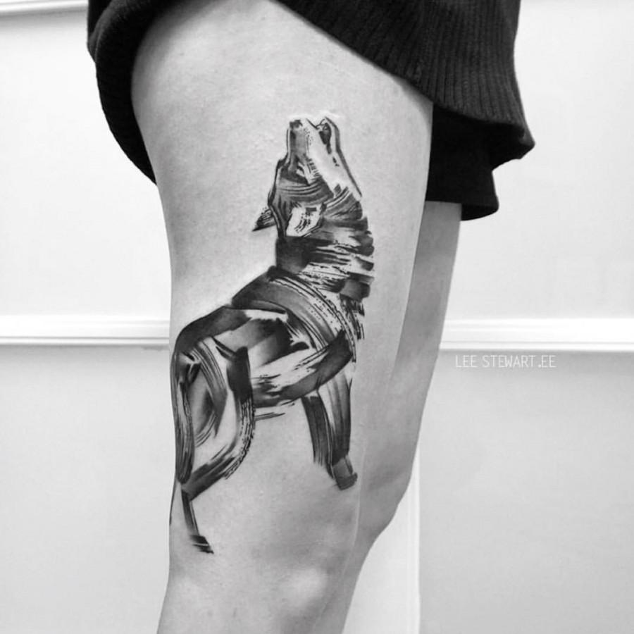 Blackwork Thigh Tattoos