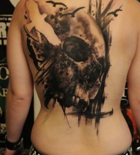 Skull and birds back tattoo by Florian Karg