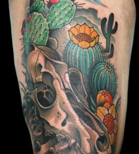 Skull and cactus tattoo