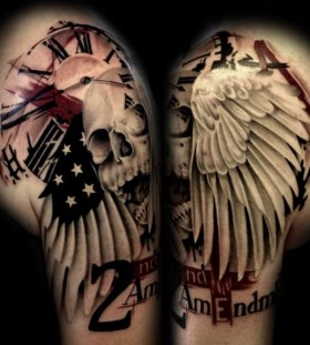Skull and clock and american flag tattoo
