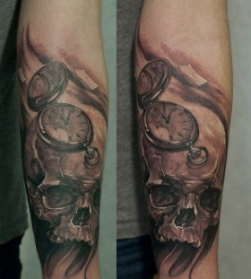Skull and pocket watch tattoo