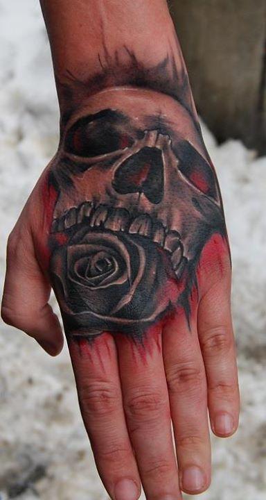 Skull and rose tattoo by Razvan Popescu