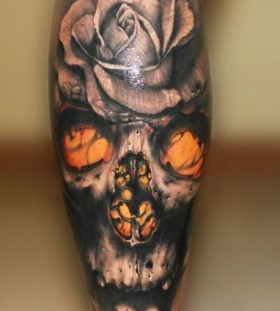 Skull and rose tattoo by Riccardo Cassese