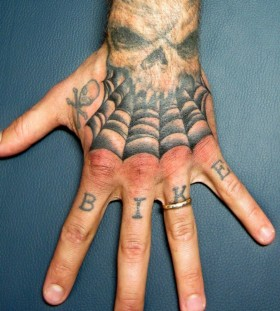 Skull and spider web hand tattoo