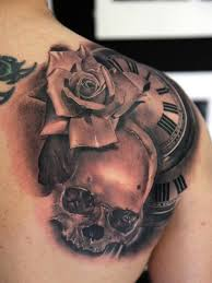 Skull clock and rose tattoo