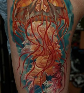 Skull jellyfish tattoo by Dmitriy Samohin