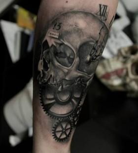 Skull mechanism tattoo by Razvan Popescu