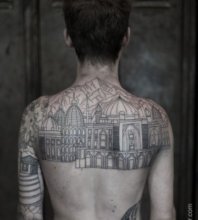 Skyline men's back architecture tattoo