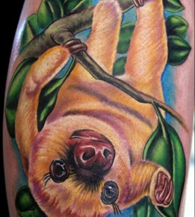 Sloth on a branch tattoo
