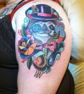 Sloth smoking pipe tattoo