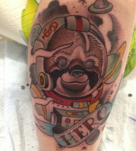 Sloth spaceman leg tattoo