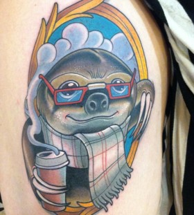 Sloth with glasses tattoo