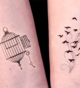 Small birdcage and key tattoo