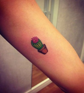 Small cactus arm tattoo