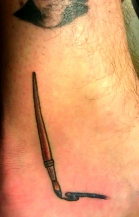 Small paint brush tattoo