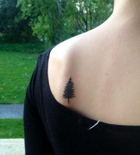 Small pine tree back tattoo