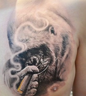 Smoking gorilla tattoo by Elvin Yong