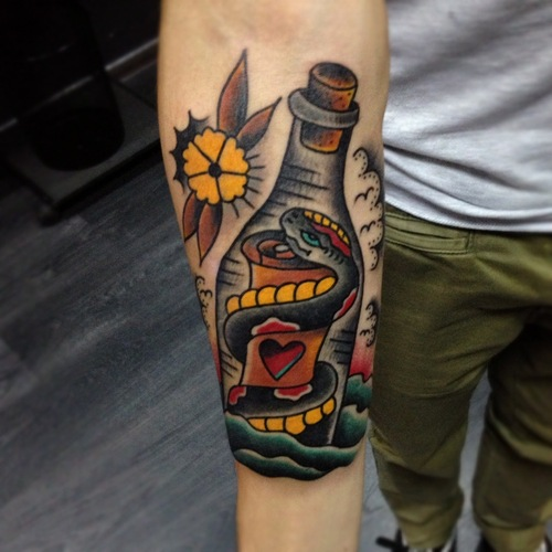 Snake in a bottle tattoo
