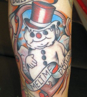 Snowman and quote tattoo