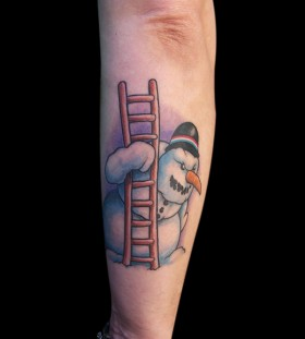 Snowman with a ladder tattoo
