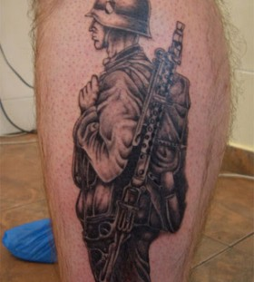 Soldier tattoo on leg