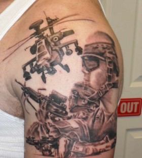 Soldiers and helicopter tattoo