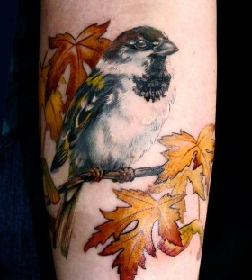 Sparrow on a branch tattoo by Esther Garcia