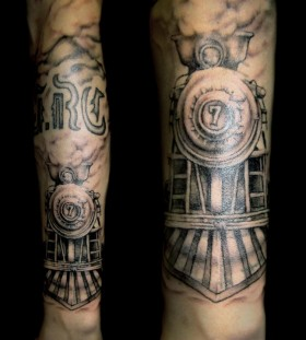 Steaming train arm tattoo