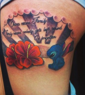 Stitch and quote tattoo