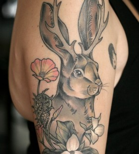 Stunning bunny tattoo by Kirsten Holliday