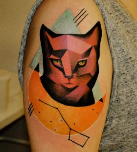 Stunning geometric cat tattoo