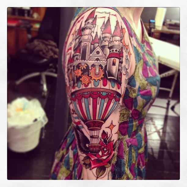 801a19310a4fb Stunning hot air balloon and castle tattoo - | TattooMagz › Tattoo ...