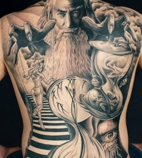 Stunning lord of the rings back tattoo