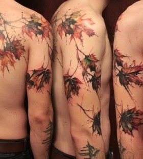 Stunning maple tree leaves tattoo