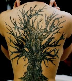 Stunning oak tree back tattoo