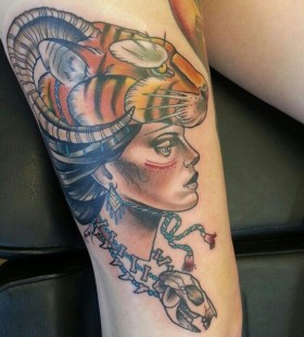 Stunning woman tattoo by Drew Shallis