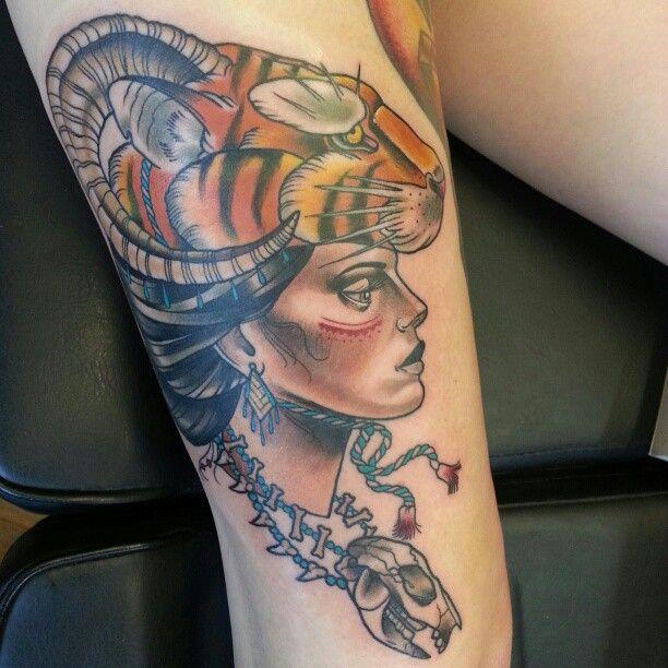 Stunning woman tattoo by Drew Shallis