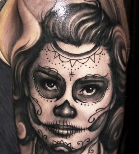 Sugar skull arm tattoo by Riccardo Cassese